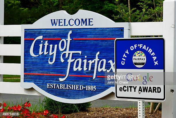 city of fairfax welcome sign - fairfax county virginia stock photos and pictures