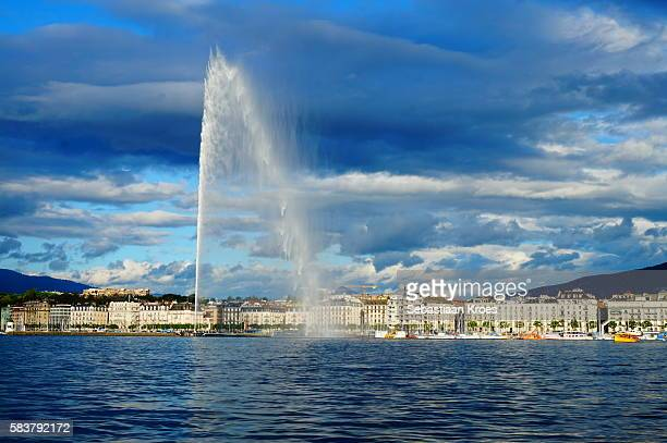 City of Geneva at Dusk in Sunshine, Jet d'Eau, Switzerland