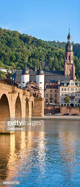 City of Heidelberg Germany with church and Old Bridge