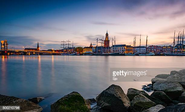 City of Kampen at the river IJssel during a sunset