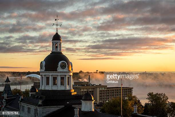 city of kingston ontario, canada at sunrise - kingston ontario stock photos and pictures