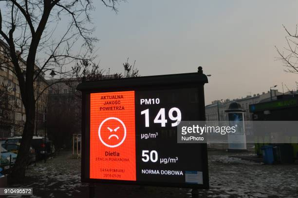 City of Krakow's information board on Starowislna Street showing an actual level of PM10 a mixture of organic and inorganic substances containing...