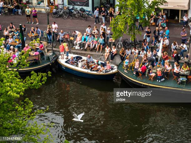 "City of Leiden in the summer, boat festival ""peurbakkentocht"""