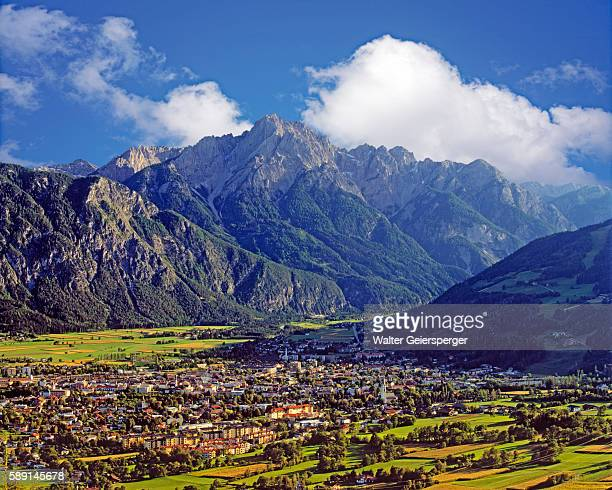 city of lienz and rugged dolomite mountains - リエンツ ストックフォトと画像