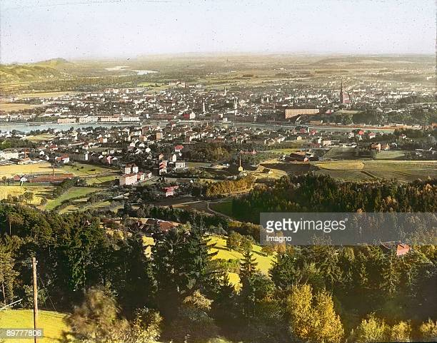 City of Linz seen from the Poestlingsberg Handcolored lantern slide Around 1910