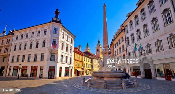 city of ljubljana old cobbled center street - リュブリャナ ストックフォトと画像