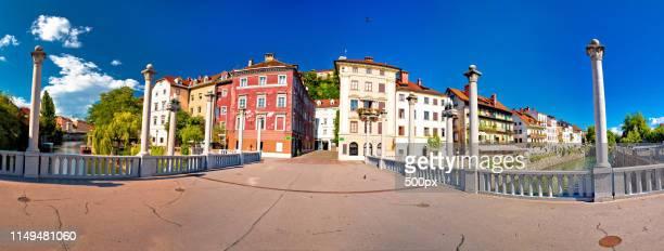 city of ljubljana river waterfront architecture - uferpromenade stock-fotos und bilder