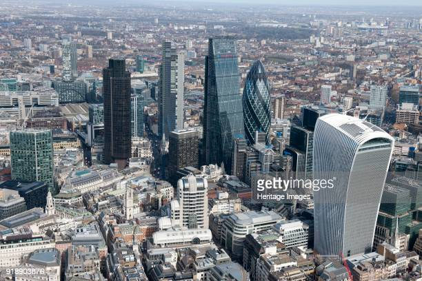 City of London, 2015. A cluster of tall buildings in the City. In the right foreground is the Walkie-Talkie building at 20 Fenchurch Street. Artist...