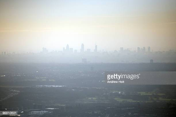 City of London aerial skyline cityscape in smog