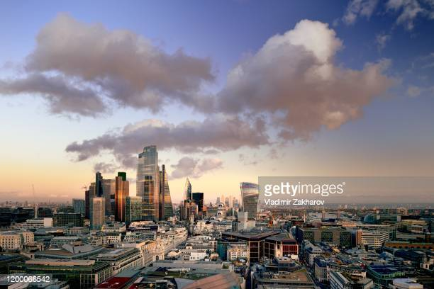 city of london aerial view at sunset - 2020 stock pictures, royalty-free photos & images
