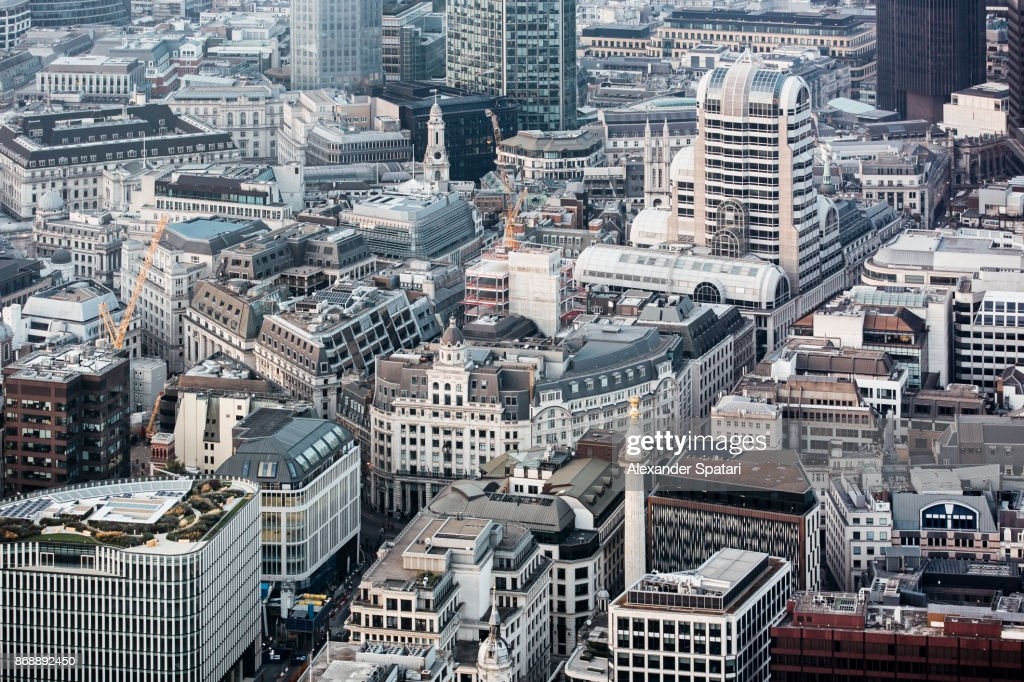 City Of London aerial view with Monument to the Great Fire, London, UK : Stock Photo