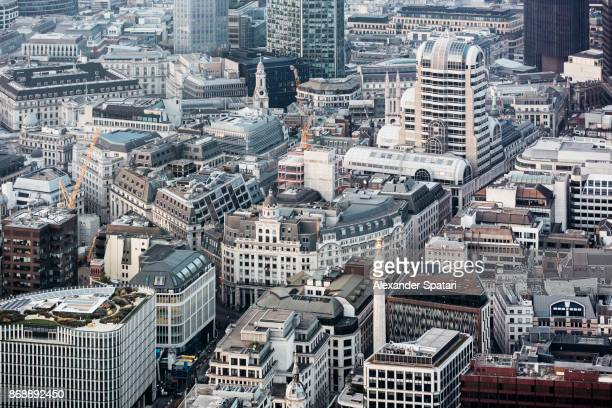 City Of London aerial view with Monument to the Great Fire, London, UK