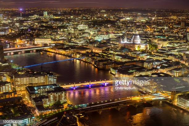 city of london at night, england, uk - central london stock pictures, royalty-free photos & images