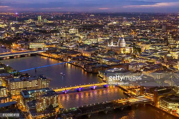 City of London at night, England, UK