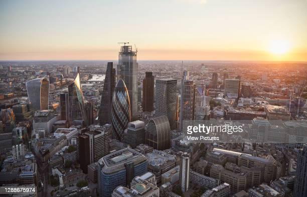 City of London at sunset. 52 Lime Street - The Scalpel, London, United Kingdom. Architect: Kohn Pedersen Fox Associates , 2018.