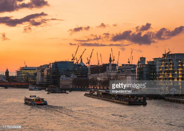 city of london at sunset, river themes, london, uk - passenger craft stock pictures, royalty-free photos & images