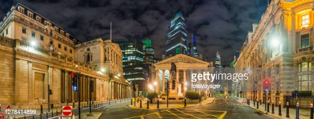 city of london bank of england square mile night panorama - night stock pictures, royalty-free photos & images