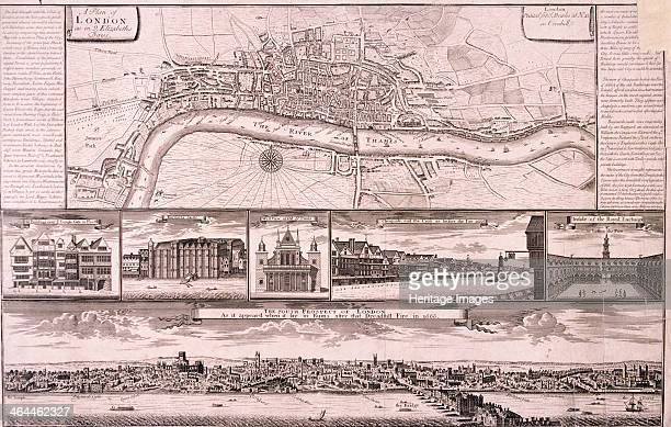 City of London c1560 Upper section shows the City of London and the River Thames as they were in 1560 Middle section shows buildings in Fleet Street...