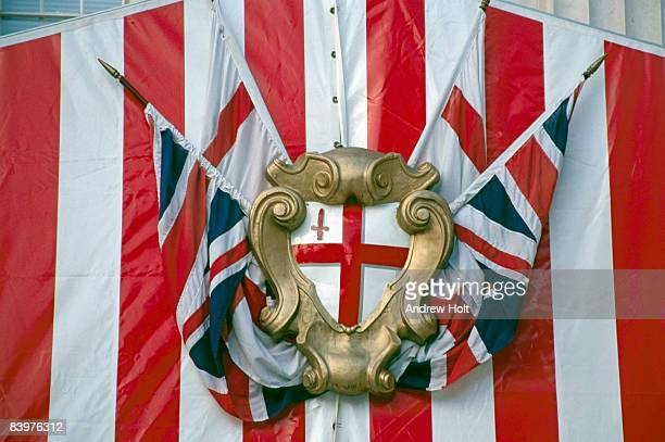 city of london crest with union jack - andrew jack stock pictures, royalty-free photos & images