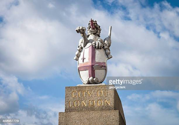 city of london dragon insignia - st george flag stock photos and pictures