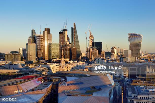 city of london  elevated view at sunset - 2018 stock pictures, royalty-free photos & images