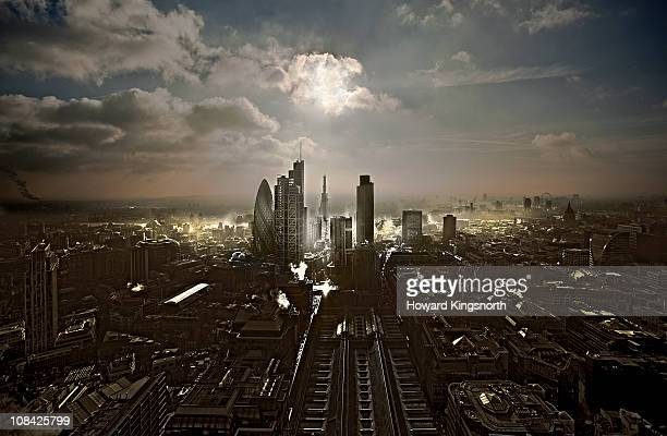 city of london facin south - dramatic sky stock pictures, royalty-free photos & images