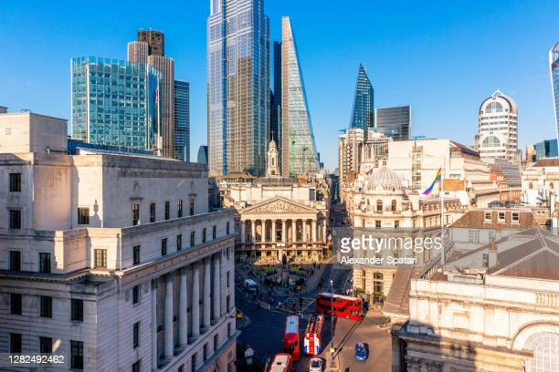 city of london financial district aerial view, london, england, uk - building exterior stock pictures, royalty-free photos & images