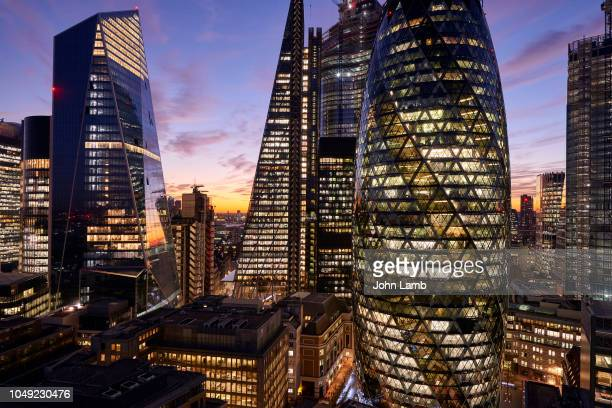 city of london financial district at dusk - skyscraper stock pictures, royalty-free photos & images
