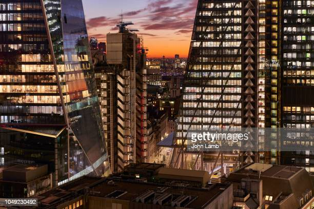 city of london financial district at dusk - night stock pictures, royalty-free photos & images