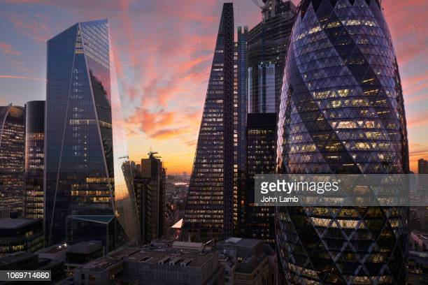 city of london financial district at dusk - finance and economy stock pictures, royalty-free photos & images