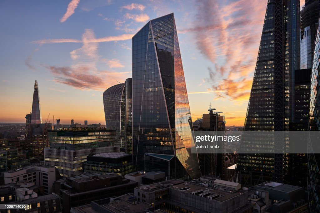 City of London financial district at sunset : Stockfoto