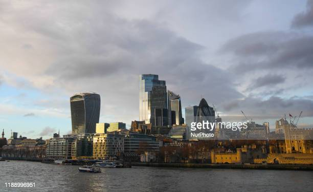 CIty of London financial district skyline and the River Thames in London, Great Britain on December 11, 2019.