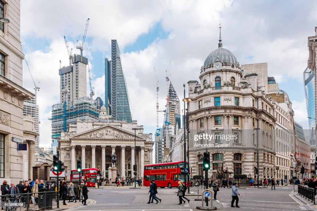 City of London financial district with Royal Exchange building, London, England, UK : Stock Photo