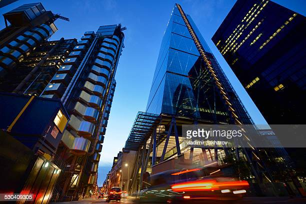 city of london low angle view at night - london financial district stock photos and pictures
