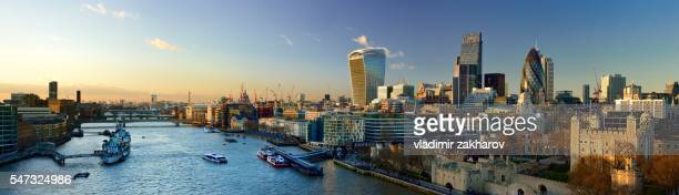 City of London  panorama at sunset