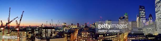 City of London, panoramic view at dusk