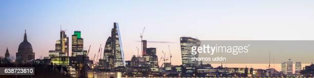 City of London skyline at dawn - panoramic view