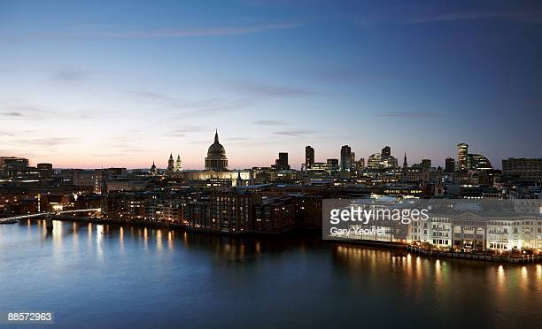 city of london skyline at dusk - yeowell stock photos and pictures