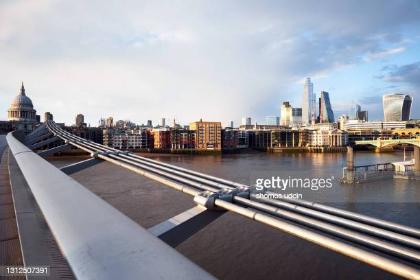 city of london skyline at sunset - riverbank stock pictures, royalty-free photos & images