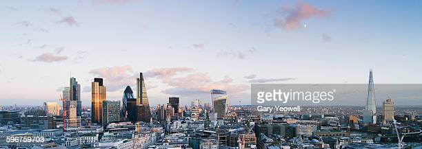 City of London skyline at sunset