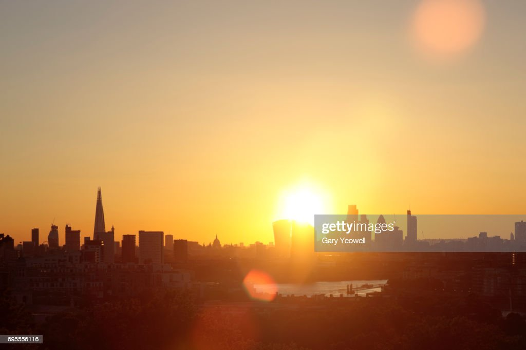 City of London skyline at sunset : Stock Photo