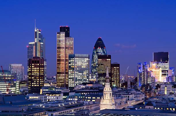 City Of London Skyscrapers At Night Wall Art