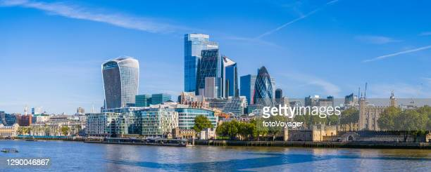 city of london skyscrapers overlooking thames embankment at tower panorama - london stock pictures, royalty-free photos & images