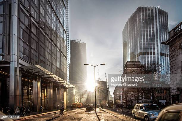 City of London sunset street