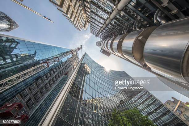 city of london tall buildings looking up - directly below stock pictures, royalty-free photos & images