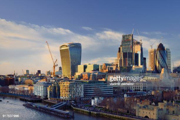city of london view at sunset - 2018 stock pictures, royalty-free photos & images