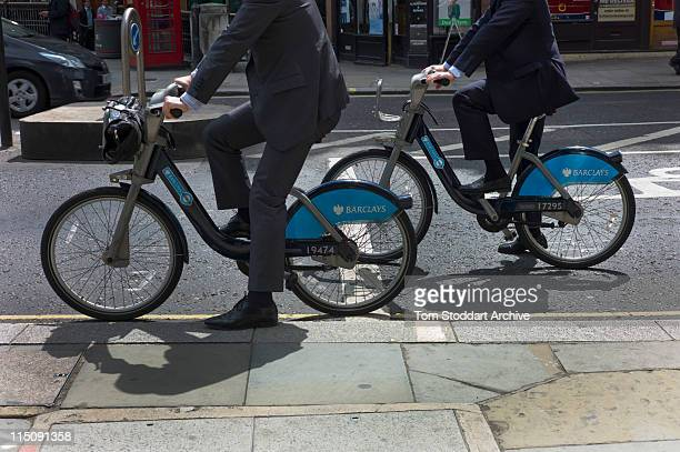 City Of London workers photographed using Barclays hire bicycles informally known as Boris Bikes after Mayor Boris Johnson