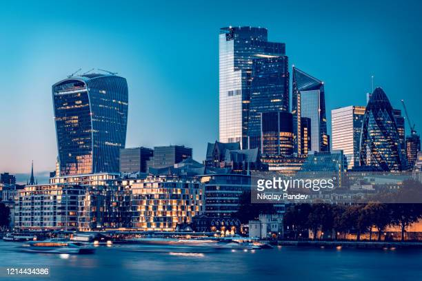 city of london's financial district during late hours of the day as seen from london city hall - creative stock image - downtown stock pictures, royalty-free photos & images