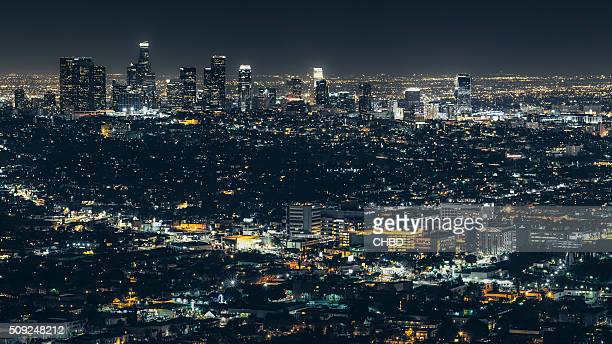 city of los angeles at night - east stock pictures, royalty-free photos & images