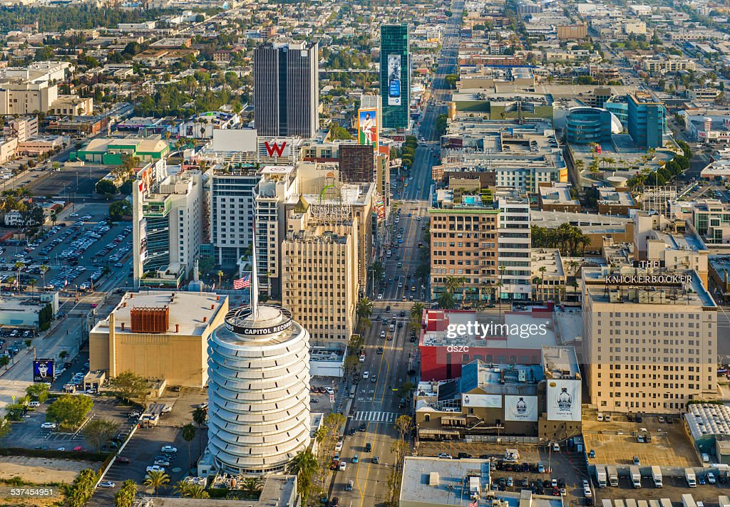 City of Los Angeles, Downtown Hollywood California - aerial view : Stock Photo